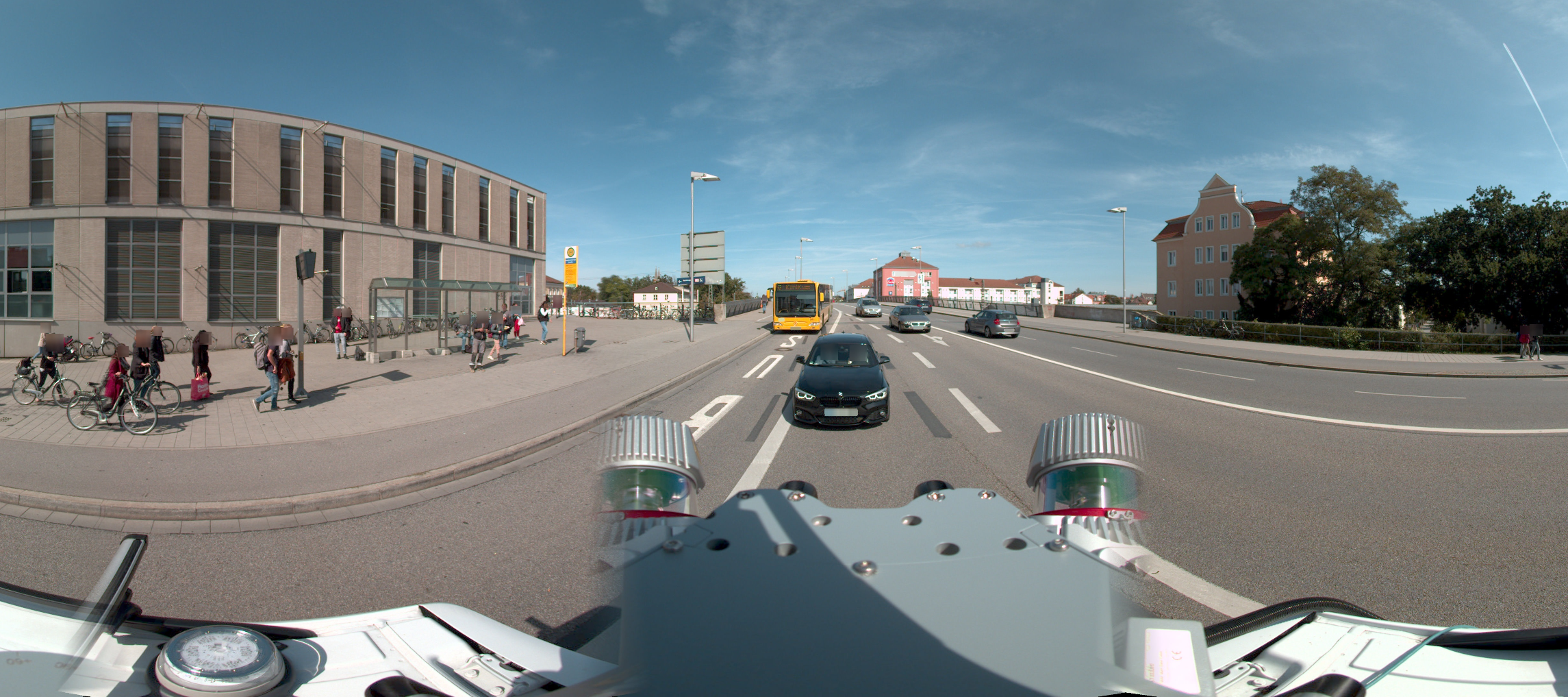 Mobile Mapping Street-Level Panorama, with blurred faces and license plates